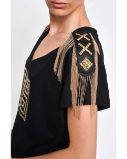 T-SHIRT WITH DECORATED STRAPS 11CPT574