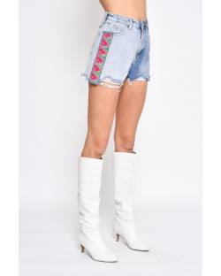 DENIM SHORTS WITH DECORATIONS 11CPT593