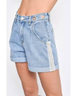 DENIM SHORTS WITH DECORATIONS 11CPT598