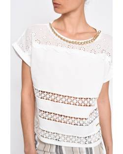 T-SHIRT WITH LACE INSERTS 11CPT804