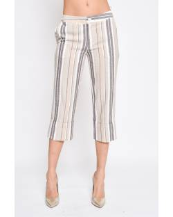 CROPPED TROUSERS IN FLAX BLEND 11XPT945