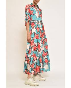 PRINTED DRESS WITH TRIMMINGS AT THE WAIST 11CPT595