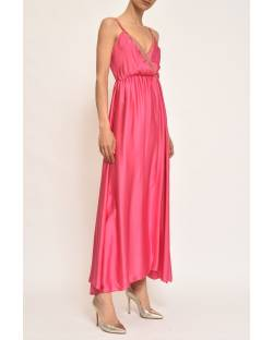 SATIN DRESS WITH DECORATED NECKLINE 11CPT821