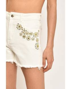SHORT IN DENIM WITH APPLICATIONS 11CPT819