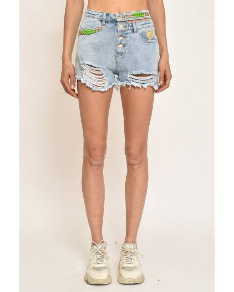 DENIM SHORTS WITH ACCESSORIES 11CPT815
