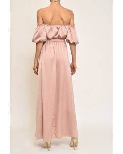 SATIN DRESS WITH BARE SHOULDERS 11CPT827