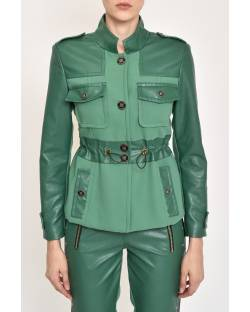 MILITARY STYLE JACKET IN ECO-LEATHER AND FABRIC 12XPT938