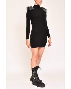 KNITTED BRAIDED DRESS WITH REMOVABLE STRAPS 12CPT500