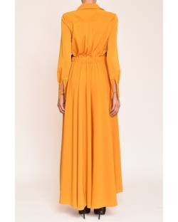 LONG DRESS WITH ECO-LEATHER INSERTS 12CPT512