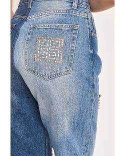 TWO-TONE JEANS WITH RHINESTONE CHAINSCOTTON 12CPT520