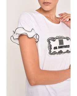 T-SHIRT WITH LOGO PATCH IN TULLE 12CPT542