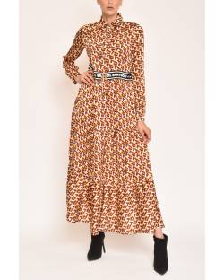 PRINTED DRESS WITH WAISTLINES 12CPT554