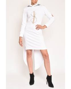 SWEATSHIRT DRESS WITH PRINT AND HOOD 12CPT555