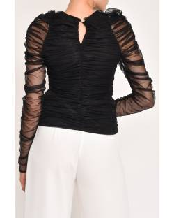 TULLE SWEATER WITH CURLS 12RPT624