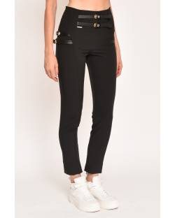 SKINNY TROUSERS WITH FAUX LEATHER STRAPS 12XPT905