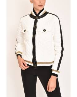 QUILTED BOMBER JACKET WITH ECO-LEATHER EDGES 12XPT912