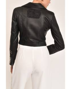 GENUINE LEATHER JACKET WITH STUDS AND EMBROIDERY 12GPP101
