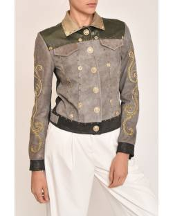 GENUINE LEATHER JACKET WITH GOLDEN EMBROIDERY 12GPP102