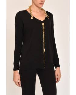 SWEATER WITH DECORATED NECKLINE 12SPT400