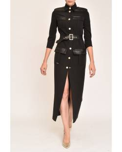 DRESS WITH ECO-LEATHER INSERTS 12XPT909