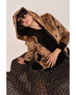 FAUX FUR BOMBER JACKET WITH HOOD 12XPT933