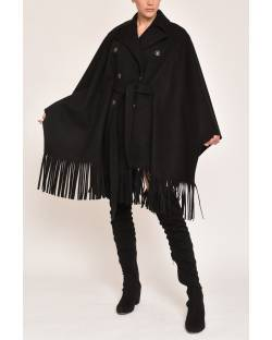 DOUBLE-BREASTED CAPE WITH FRINGED EDGE 12XPT969
